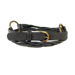 Black Earth Conscious Leather Loose Braid Belt S